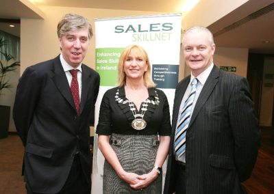 L to R., Guest Speaker, John Delaney FAI, Eleanor O'Kelly Lynch, Chairperson SII and Aidan Forde, Irish Examiner pictured at the Sales Institute of Ireland Business Breakfast at the Clarion Hotel. Picture, Tony O'Connell Photography.