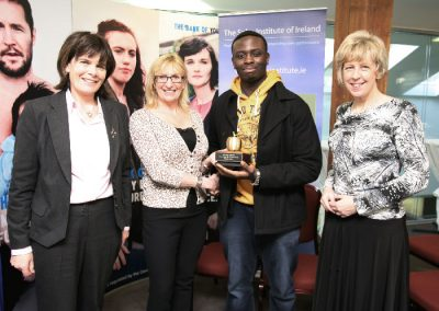 At the Sales Institute of Ireland Business Breakfast at KBC Bank. Eleanor O'Kelly Lynch SII  presenting the Golden Apple  Award for the Best Sales Presentaion at the Cork College of Commerce to Student Kesline Ugbodu also in picture, L to R., Ber Browne, Vice Chairperson SII and Helen Ryan, Principal Cork College of Commerce. Picture, Tony O'Connell Photography.