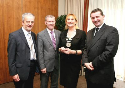 At the Clarion Hotel for the for the Sales Institute of Ireland, Munster Branch Breakfast Meeting were L to R., Hugh O'Brien AIB, Finbarr Lehane Hibernian Aviva, Eleanor O'Kelly Lynch, Chairperson of the SII, Munster Branch and Karl Flanagan OMF. Picture, Tony O'Connell Photography.