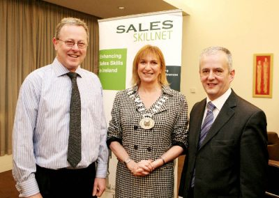 At the Clarion Hotel for the Sales Institute of Ireland Cork Area Business Breakfast were L to R., Guest Speaker, Walter Bradley, Partner Dale Carnegie Ireland, Eleanor O'Kelly Lynch, Golden Apple Training and Chairperson SII and Hugh Griffin, AIB and Vice Chairperson SII. Picture, Tony O'Connell Photography.