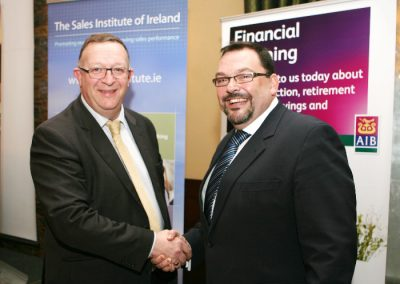 At Fota Island resort for the Sales Skills Series organised by the Sales Institute of Irelsnd were l to R., Bob Hoffman, Sales Institute of Ireland and Colin Morehead AIB. Picture, Tony O'Connell Photography.