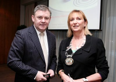 At the Clarion Hotel for the Institute of Ireland Munster Branch Breakfast Meeting were L to R., Dave Malone, Evolve Training (Guest Speaker) and Eleanor O'Kelly lynch, Golden Apple Training and Chairperson of SII. Picture, Tony O'Connell Photography.