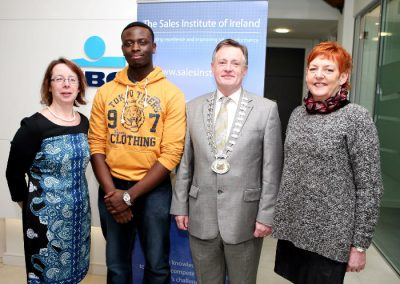 At the Sales Institute of Ireland Business Breakfast at KBC Bank were L to R., Catherine O'Donovan, Teacher College of Commerce, Kesline Ugbodu, Student College of Commerce, Aidan Mc Carthy, Chairperson SII and Veronica Scannell, Student, College of Commerce. Picture, Tony O'Connell Photography.