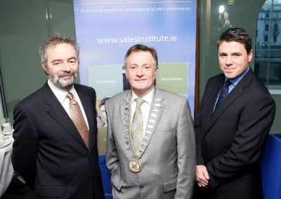 At the Sales Institute of Ireland Business Breakfast at the KBC Bank. L to R., Austin Hughes, Chief Economist KBC Bank ( Guest Speaker ), Aidan Mc Carthy, Chairperson SII and Sean Michael Collins, Hub Manager, KBC Bank. Picture, Tony O'Connell Photography.