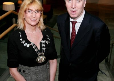 Eleanor O'Kelly Lynch, Chairperson Sales Institute of Ireland, southern Region and John Delaney, CEO Football Association of Ireland, ( Guest Speaker ) at the SII Business Breakfast at the Claron Hotel. Picture. Tony O'Connell Photography.