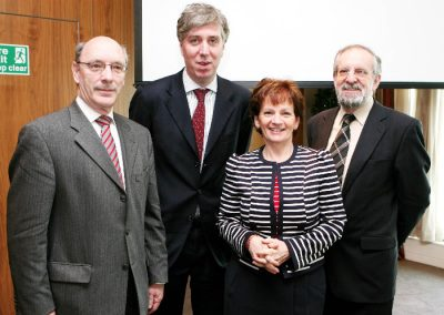 At the Clarion Hotel for the Sales Institute of ireland Business Breakfast were L to R., Ger Dowling SII, John Delaney, CEO FAI ( Guest Speaker ), Mary Harney, Mary Harney Health & Safety Training and Finbarr Moloney, Insurance Institute of Cork. Picture, Tony O'Connell Photography.